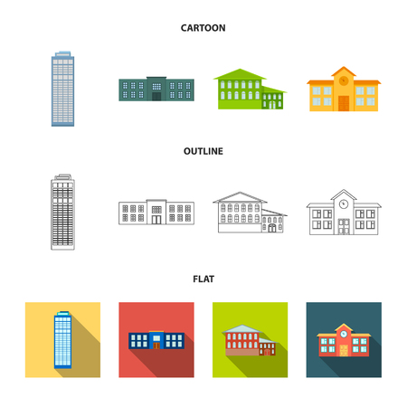Skyscraper, police, hotel, school.Building set collection icons in cartoon,outline,flat style vector symbol stock illustration web. Illustration