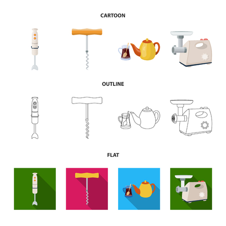 Kitchen equipment cartoon,outline,flat icons in set collection for design. Kitchen and accessories vector symbol stock web illustration.