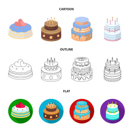 Sweetness, dessert, cream, treacle .Cakes country set collection icons in cartoon,outline,flat style vector symbol stock illustration web. Illustration