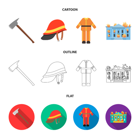 Ax, helmet, uniform, burning building. Fire departmentset set collection icons in cartoon,outline,flat style vector symbol stock illustration web. Illustration