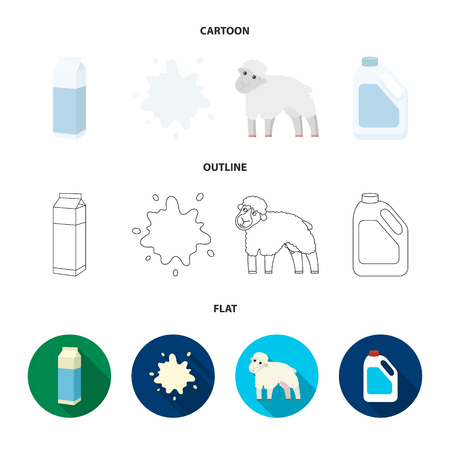 Billet pack, sheep.blue, canister.Moloko set collection icons in cartoon,outline,flat style vector symbol stock illustration web.