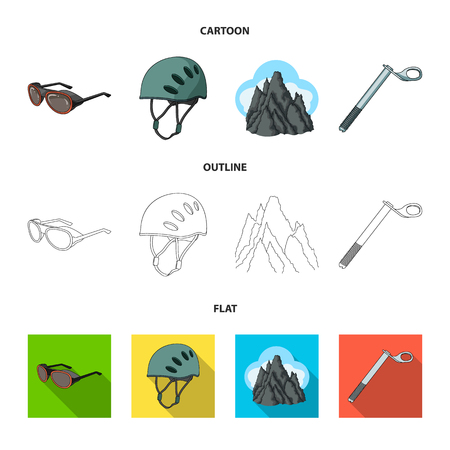 Helmet, goggles, wedge safety, peaks in the clouds.Mountaineering set collection icons in cartoon,outline,flat style vector symbol stock illustration web. Vector Illustration
