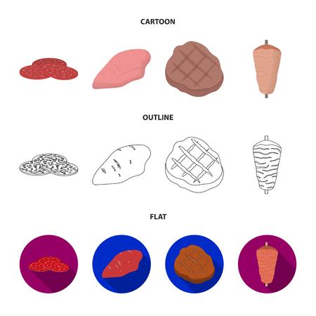 Stücke von Salami, Truthahnfilet, gegrilltes Steak, Kebab.