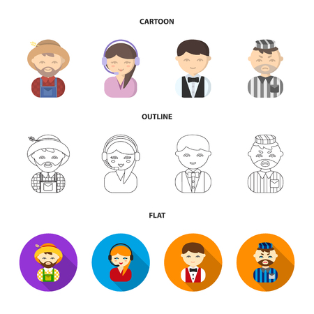 Farmer, operator, waiter, prisoner.Profession set collection icons in cartoon,outline,flat style vector symbol stock illustration web.
