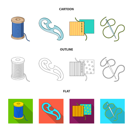 A spool with threads, a needle, a curl, a seam on the fabric.Sewing or tailoring tools set collection icons in cartoon,outline,flat style vector symbol stock illustration web.