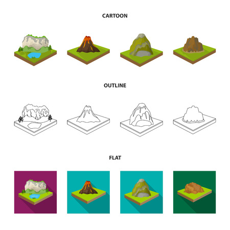 Mountains, rocks and landscape. Relief and mountains set collection icons in cartoon,outline,flat style isometric vector symbol stock illustration web. Illusztráció