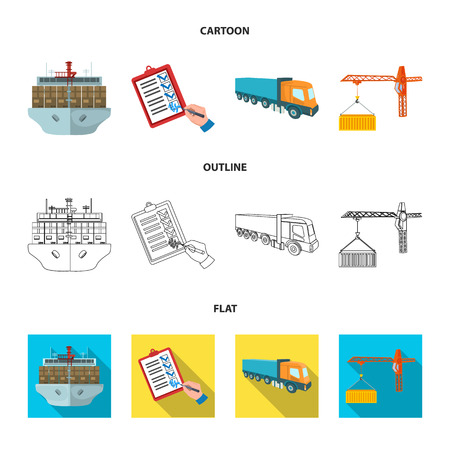 Sea freight, signature of delivery documents, truck, tower crane with a container. Logistics and delivery set collection icons in cartoon,outline,flat style isometric vector symbol stock illustration web. Illustration