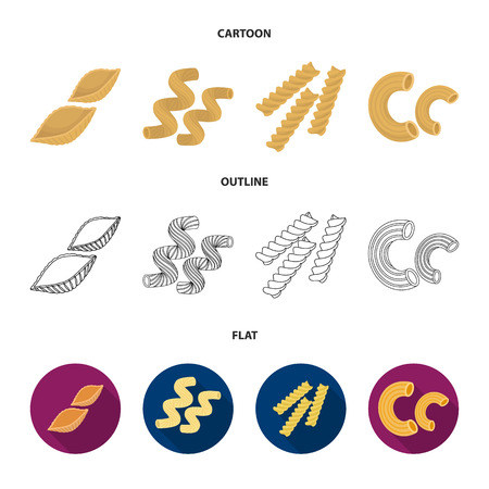 Different types of pasta. Types of pasta set collection icons in cartoon,outline,flat style vector symbol stock illustration web. Stock Illustratie