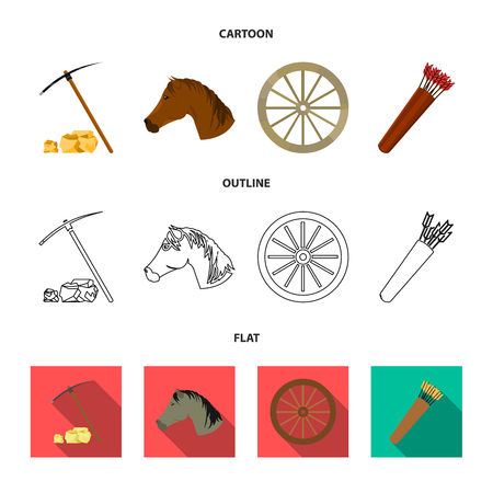Pickax hoe, horse head, wheel cart, quiver with arrows.Wild west set collection icons in cartoon,outline,flat style vector symbol stock illustration web.