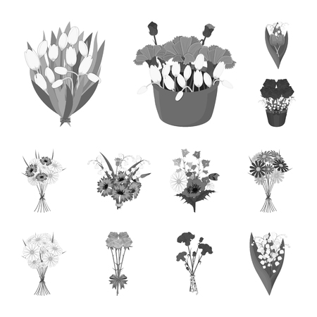 A bouquet of fresh flowers monochrome icons in set collection for design. Various bouquets vector symbol stock web illustration.