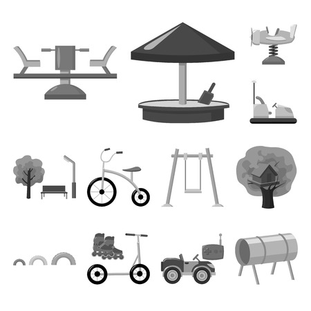 Playground, entertainment monochrome icons in set collection for design. Attraction and equipment vector symbol stock web illustration. Illustration