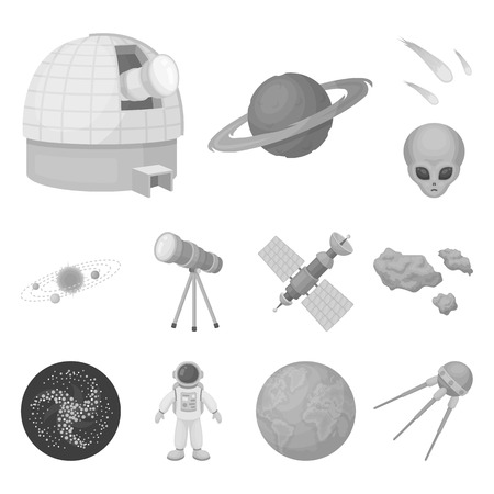 Space technology monochrome icons in set collection for design.Spacecraft and equipment vector symbol stock web illustration.
