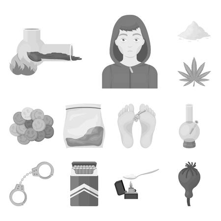 Adicción a las drogas y atributos iconos monocromos en conjunto para el diseño. Adicto y drogas vector símbolo stock web ilustración.