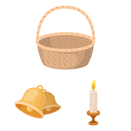 Easter is a Christian holiday cartoon icons in set collection for design. Easter attributes bitmap symbol stock web illustration.