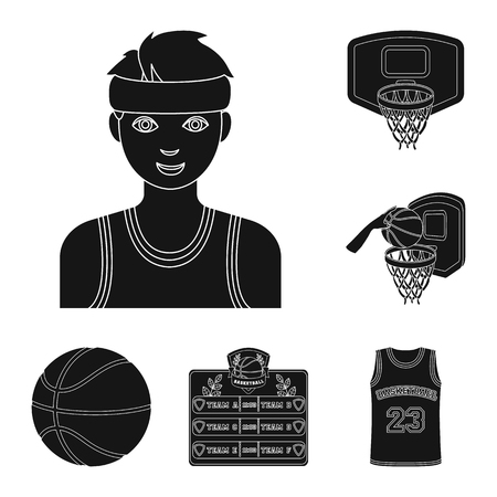 Basketball and attributes black icons in set collection for design.Basketball player and equipment bitmap symbol stock web illustration. 스톡 콘텐츠