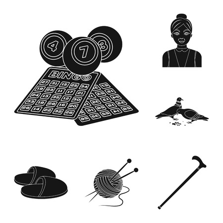 Human old age black icons in set collection for design. Pensioner, period of life bitmap symbol stock web illustration. Zdjęcie Seryjne