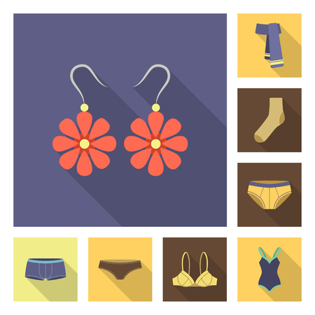 Clothes and accessories flat icons in set collection for design. Shoes and decoration bitmap symbol stock web illustration. Archivio Fotografico