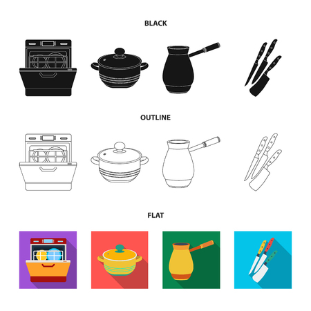 Kitchen equipment black,flat,outline icons in set collection for design. Kitchen and accessories bitmap symbol stock web illustration.
