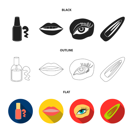 Nail polish, tinted eyelashes, lips with lipstick, hair clip.Makeup set collection icons in black,flat,outline style bitmap symbol stock illustration web.