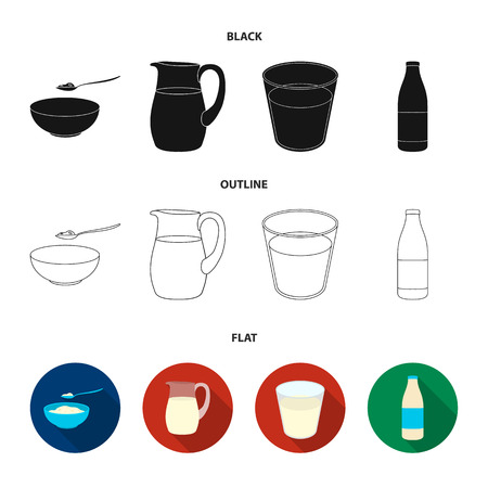Bowl of cottage cheese, a glass, a bottle of kefir, a jug. Moloko set collection icons in black,flat,outline style bitmap symbol stock illustration web. Stock Photo