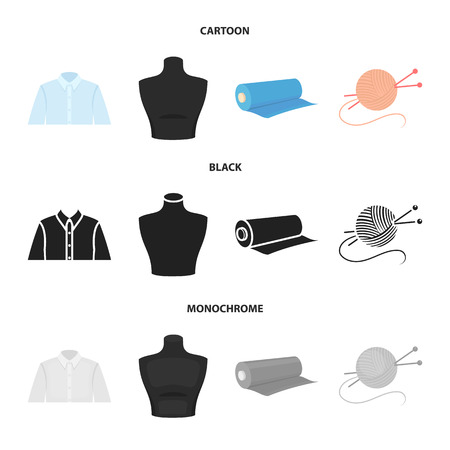A man shirt, a mannequin, a roll of fabric, a ball of threads and knitting needles.Atelier set collection icons in cartoon,black,monochrome style bitmap symbol stock illustration web. Stock Photo