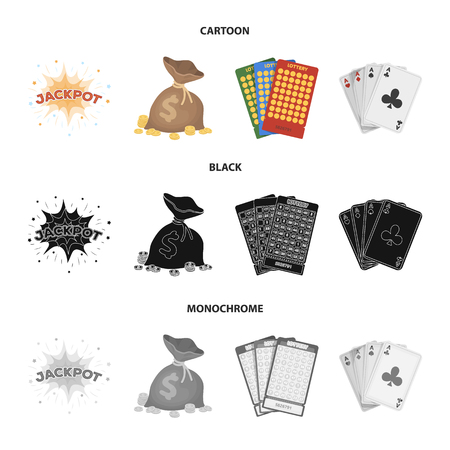 Jack sweat, a bag with money won, cards for playing Bingo, playing cards. Casino and gambling set collection icons in cartoon,black,monochrome style bitmap symbol stock illustration web. 写真素材