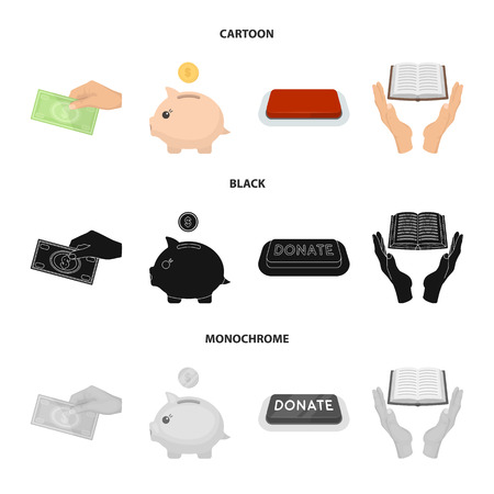 Hand with money for poshestvovaniya, a piggy bank for charity, a button with an inscription, a book for the blind in their hands. Charity and donation set collection icons in cartoon,black,monochrome style bitmap symbol stock illustration web.