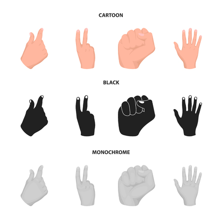 Open fist, victory, miser. Hand gesture set collection icons in cartoon,black,monochrome style bitmap symbol stock illustration web.