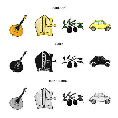 Mandolin, papa, olive, retro auto.Italy country set collection icons in cartoon,black,monochrome style bitmap symbol stock illustration web. Imagens