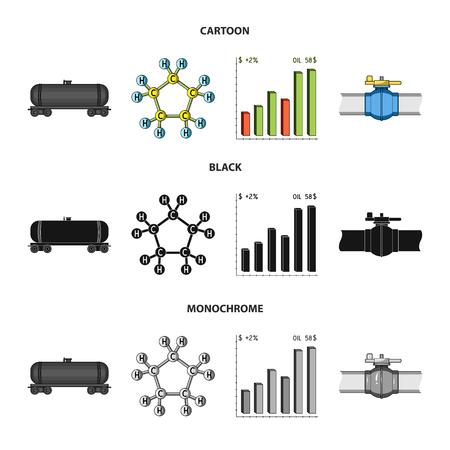 Railway tank, chemical formula, oil price chart, pipeline valve. Oil set collection icons in cartoon,black,monochrome style bitmap symbol stock illustration web. Stock Photo