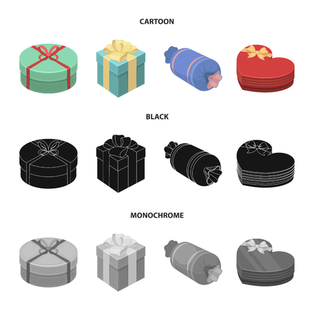 Gift box with bow, gift bag.Gifts and certificates set collection icons in cartoon,black,monochrome style bitmap symbol stock illustration web.
