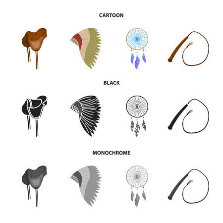 Saddle, Indian mohawk, whip, dream catcher.Wild west set collection icons in cartoon,black,monochrome style bitmap symbol stock illustration web.