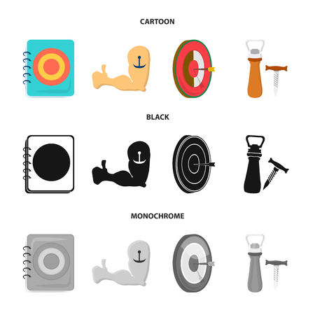 Menu, armor with tattoo, darts, corkscrew and opener.Pub set collection icons in cartoon,black,monochrome style bitmap symbol stock illustration web.