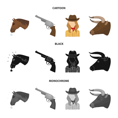 Head of a horse, a bull head, a revolver, a cowboy girl. Rodeo set collection icons in cartoon,black,monochrome style bitmap symbol stock illustration web.