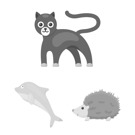 An unrealistic animal monochrome icons in set collection for design. Toy animals vector symbol stock web illustration.