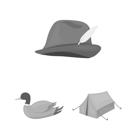 Hunting and trophy monochrome icons in set collection for design. Hunting and equipment vector symbol stock web illustration. Archivio Fotografico - 106561991