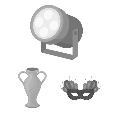 Iconos monocromos de arte teatral de colección set de diseño. Equipo y accesorios de teatro vector ilustración de símbolo stock web Ilustración de vector