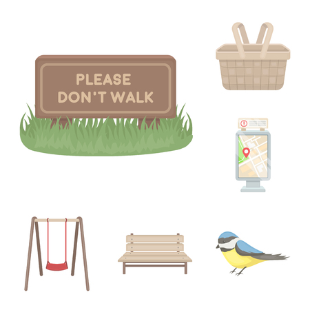 Park, equipment cartoon icons in set collection for design. Walking and rest vector symbol stock web illustration.  イラスト・ベクター素材