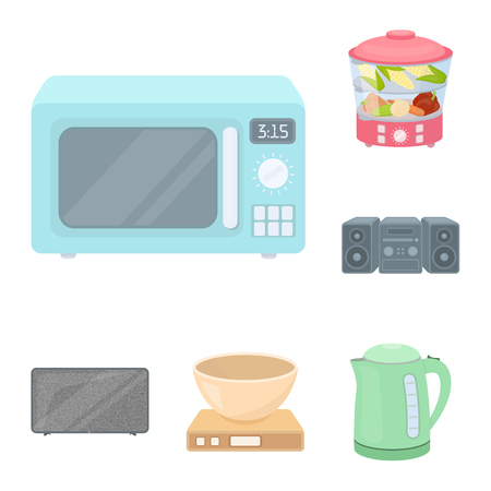 Types of household appliances cartoon icons in set collection for design.Kitchen equipment vector symbol stock web illustration. Stock Illustratie