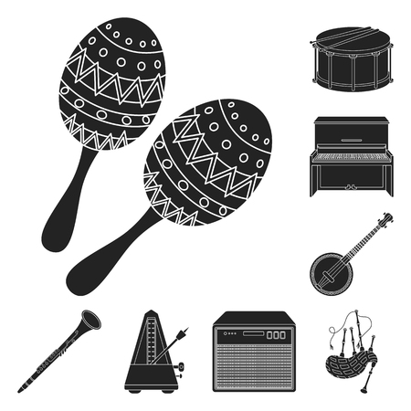 Musical instrument black icons in set collection for design. String and Wind instrument vector symbol stock  illustration.