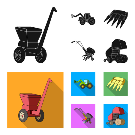Motoblock and other agricultural devices. Agricultural machinery set collection icons in black,flat style vector symbol stock illustration .