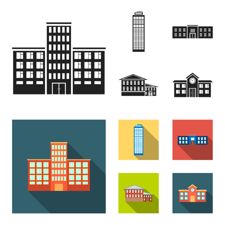Skyscraper, police, hotel, school.Building set collection icons in black,flat style vector symbol stock illustration . Illustration