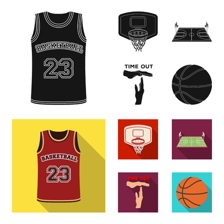 Basketball and attributes black,flat icons in set collection for design.Basketball player and equipment vector symbol stock  illustration.