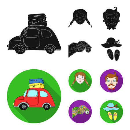 Travel, vacation, camping, map .Family holiday set collection icons in black,flat style vector symbol stock illustration .