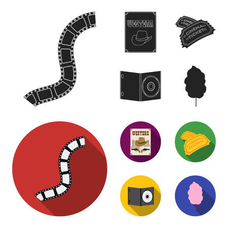 Western cinema, tickets, sweet cotton wool, film on DVD.Filmy and cinema set collection icons in black,flat style vector symbol stock illustration .