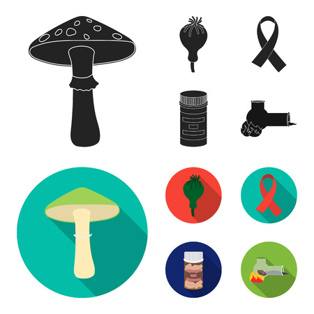 AIDS tape, tablets, opium poppy, a tube for hashish.Drug set collection icons in black,flat style vector symbol stock illustration . Illustration