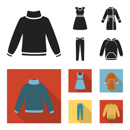 Dress with short sleeves, trousers, coats, raglan.Clothing set collection icons in black,flat style vector symbol stock illustration .