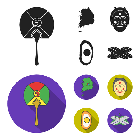 A map of the state with a flag, a Korean mask, a national egg meal, a crossroads with traffic lights. South Korea set collection icons in black,flat style vector symbol stock illustration . Illustration