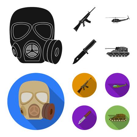 Rifle de asalto M16, helicóptero, tanque, cuchillo de combate. Los militares y el ejército establecen los iconos de la colección en la ilustración de stock de símbolo de vector de estilo plano negro.
