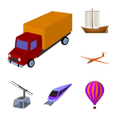 Diferentes tipos de iconos de dibujos animados de transporte de colección set de diseño. Ilustración de stock de símbolo de vector de coche y barco.